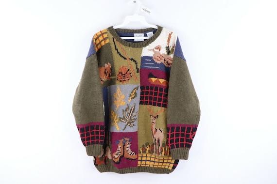 90s Streetwear Womens Small Handknit All Over Fall
