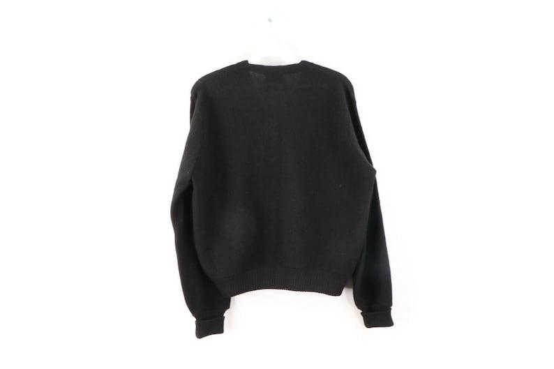 80s Rockabilly Womens Medium Alpaca Wool Knit Cardigan Sweater Black 80s Rockabilly Alpaca Wool Cardigan Sweater Rockabilly Sweater,