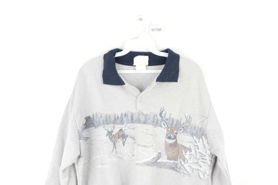 80s Streetwear Mens Large Deer Buck Nature Print C