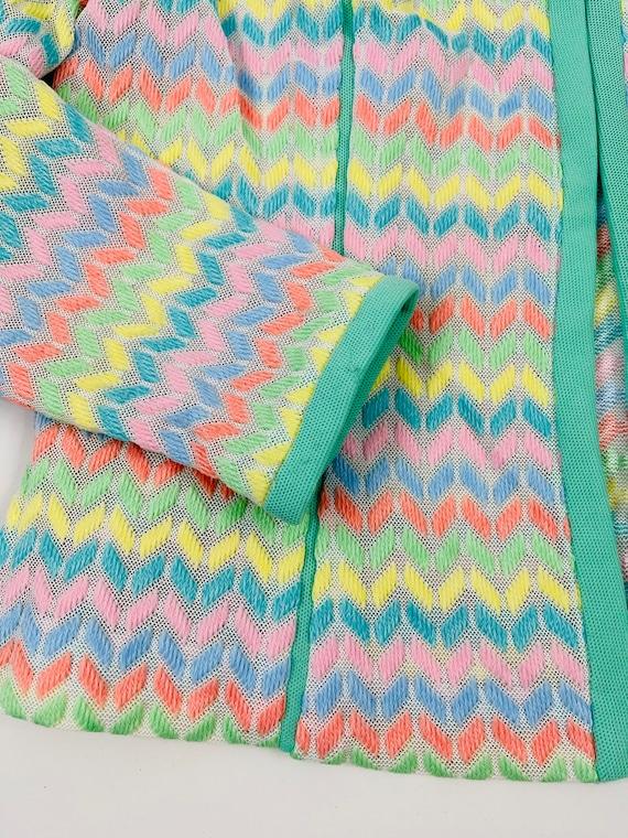 70s Womens Medium Rainbow Chevron Lightweight Bla… - image 7