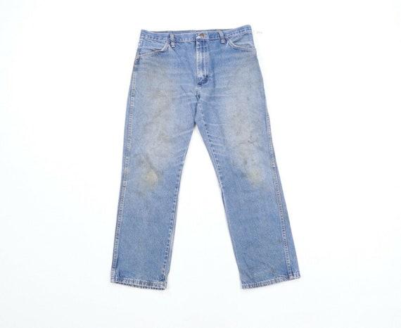 70s Rockabilly Mens 34x29 Straight Leg Thrashed De