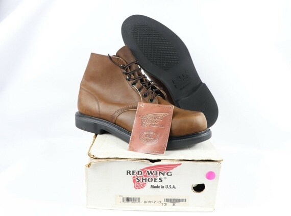 NOS Vtg 90s Red Wing Shoes Mens 13 E Oil Tanned L… - image 2