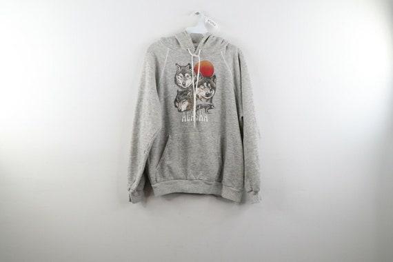 80s Streetwear Mens XS Alaska Wolf Print Tri Blend