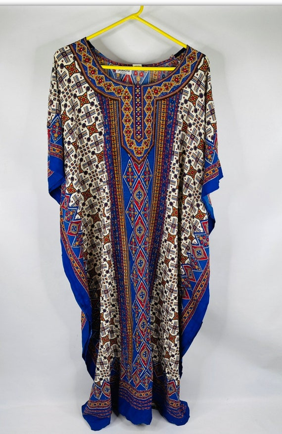 80s Womens Psychedelic Floral Satin Kaftan, 80s Wo