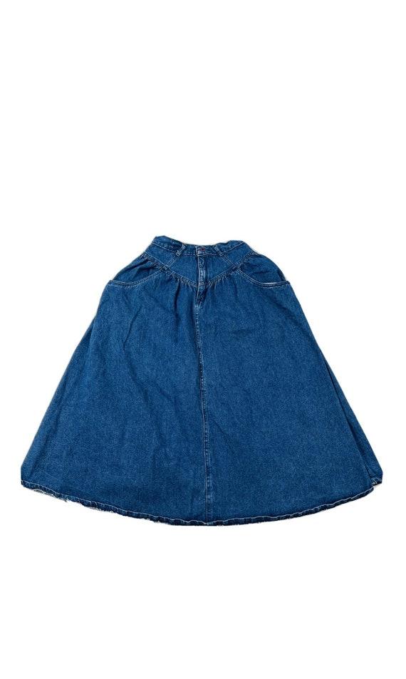 80s Jordache Womens 8 Denim A Line Prairie Skirt U