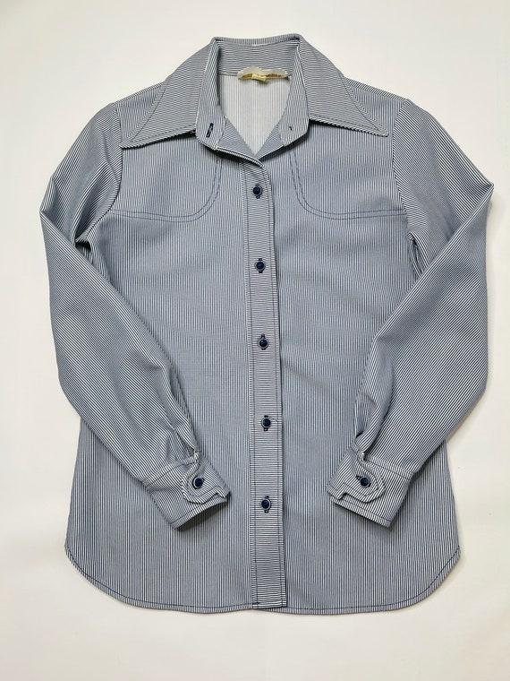 60s Mod Womens 6 Pinstriped 2 Piece Flare Pant Su… - image 2