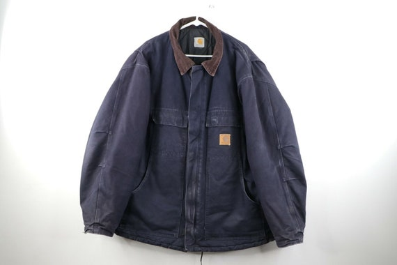 90s Carhartt Mens 2XL Spell Out Corduroy Collar Di