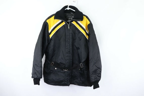 80s Mens Large Belted Color Block Full Zip Snowmob