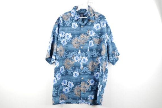 90s Streetwear Mens Large Anime Dragon All Over Pr