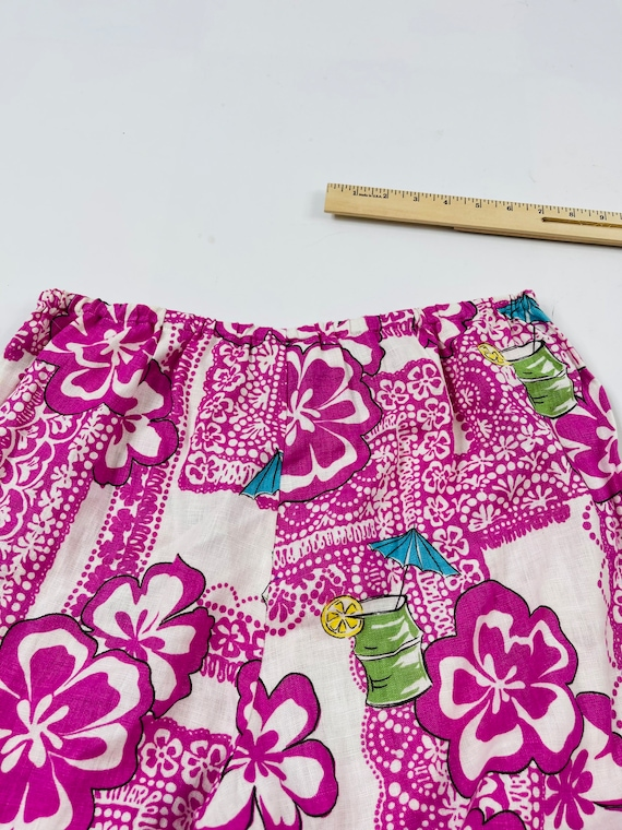 90s Rockabilly Womens Small Linen Hawaiian Floral… - image 7