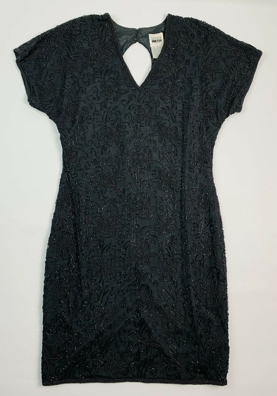 Vintage Beaded Silk Black Dress, Vintage Silk Bead