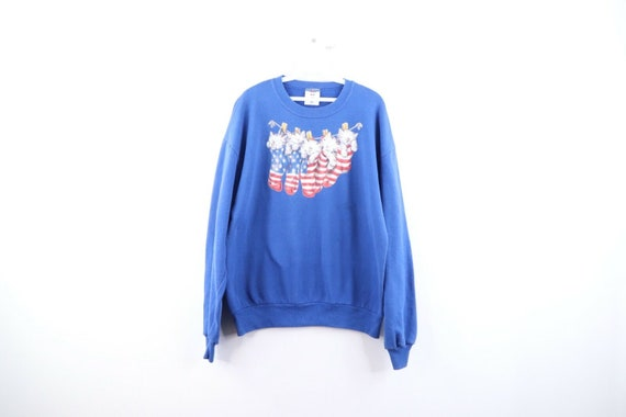 90s Streetwear Mens Large Crazy Cat Lady USA Flag