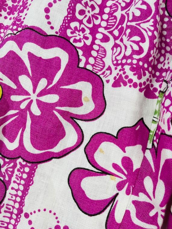 90s Rockabilly Womens Small Linen Hawaiian Floral… - image 2