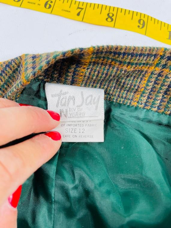 80s Mod Womens 12 Multi Color Plaid High Rise Tap… - image 2