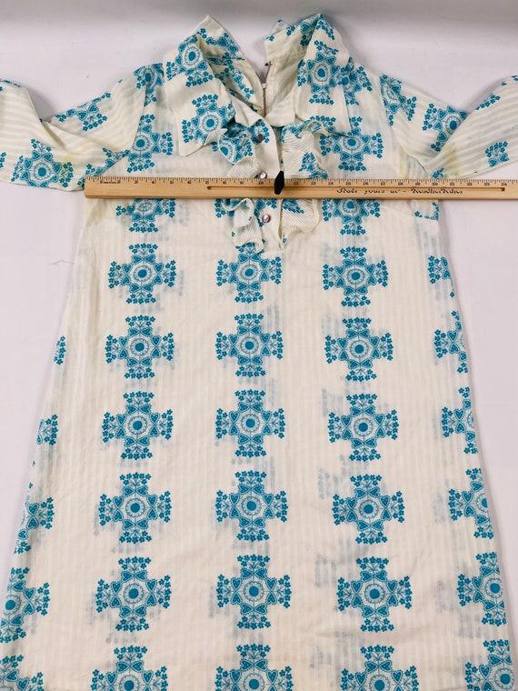 70s Womens Medium Floral Ruffled Neck Long Sleeve… - image 7