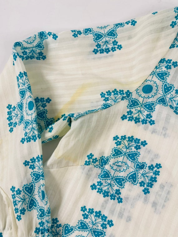 70s Womens Medium Floral Ruffled Neck Long Sleeve… - image 6