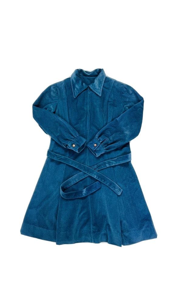 70s Womens Medium Velour Collared Mini Disco Dres… - image 1