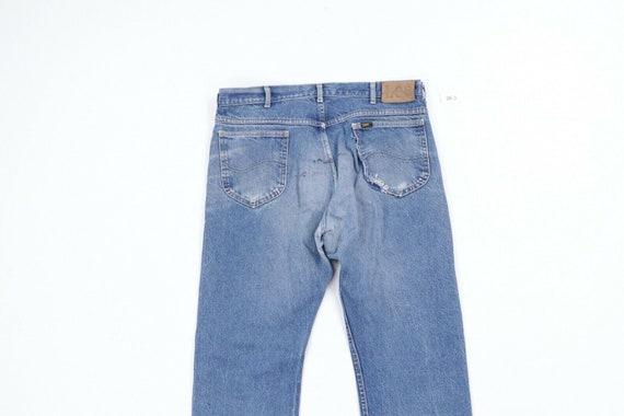 80s Lee Mens 36x28 Straight Leg Thrashed Distress… - image 8