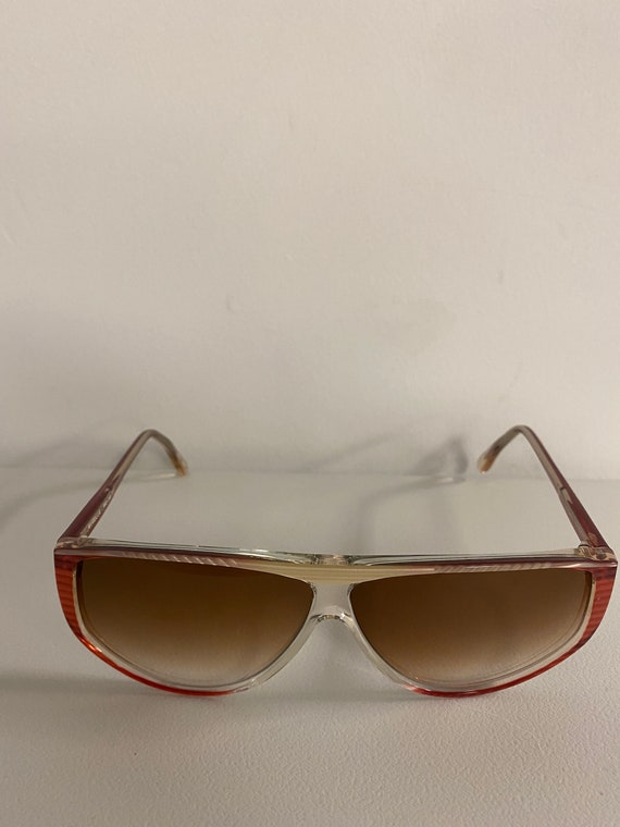 90s NOS Deadstock Clear Pink Acetate Sunglasses R… - image 3