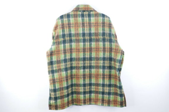 60s Mens Large Wool Double Pocket Multi-Color Pla… - image 5