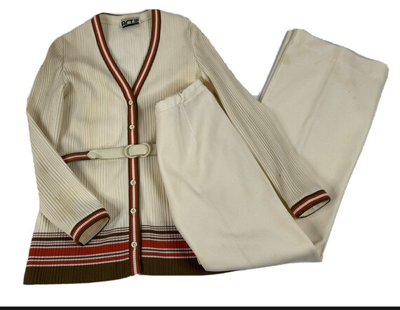 60s Mod Womens Large Ivory Striped Wide Leg Pant … - image 1