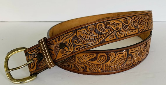 Vintage Tooled Leather Belt, Vintage Embossed Leat