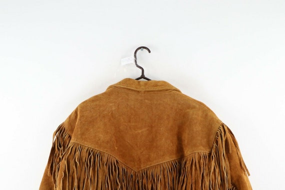 90s Rockabilly Mens 2XL Fringed Suede Leather Wes… - image 6