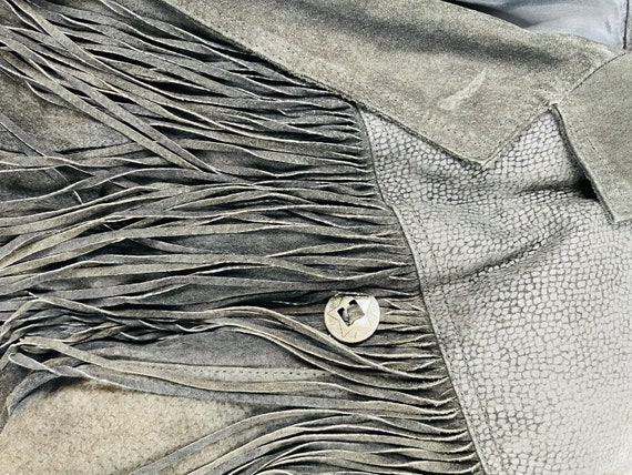 90s Rockabilly Womens Small Fringed Suede Leather… - image 7
