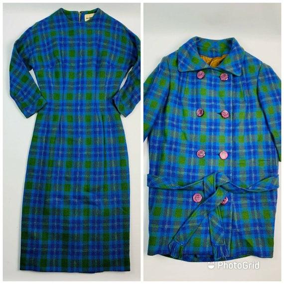 Vintage 1940s Wool Plaid 2 Piece Dress with Jacket