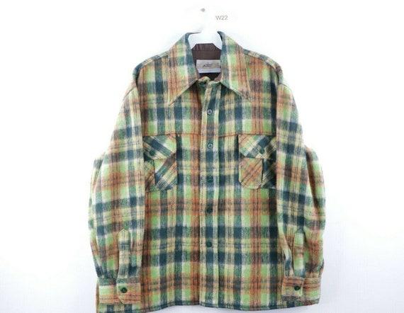 60s Mens Large Wool Double Pocket Multi-Color Plai