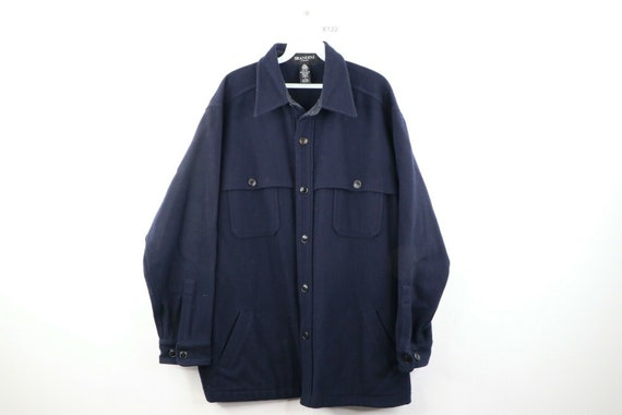 80s Rockabilly Mens Large Wool Double Pocket CPO S