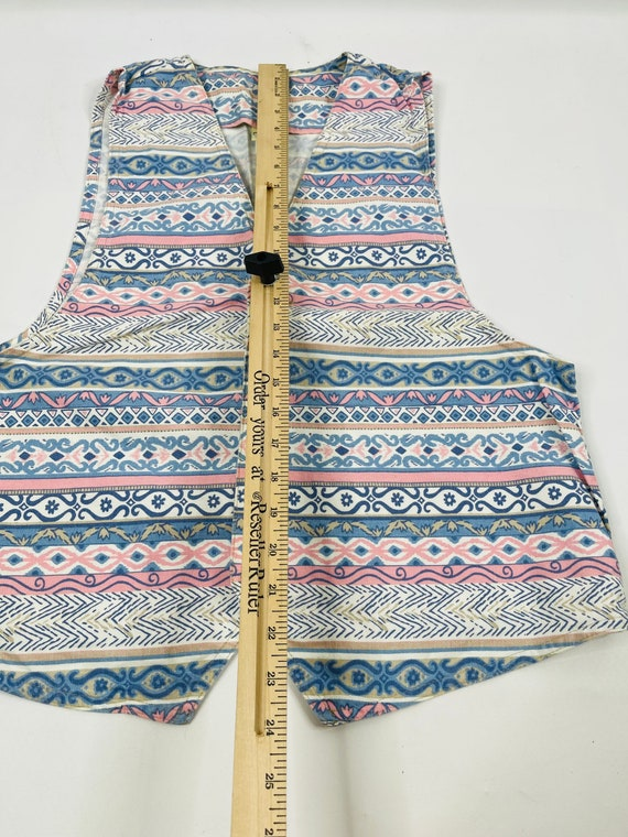 90s Womens Large Aztec Denim Button Front Vest US… - image 3