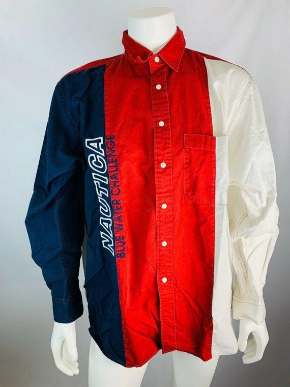 VTG 90s Nautica Mens XL Stitched Button Down Shirt
