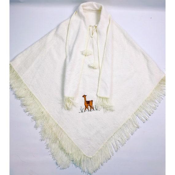 VTG 70s Boho Fringe Poncho Sweater Cape Ivory Alpa