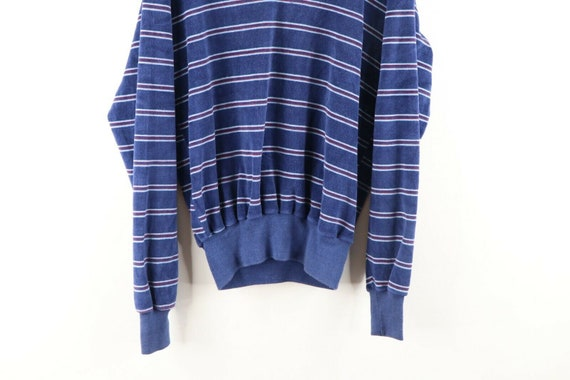 70s Rockabilly Womens Large Multicolor Striped V-… - image 3