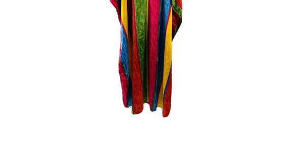 90s Womens OS Rainbow Satin Kaftan Beach Dress, 9… - image 2