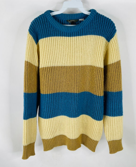 70s Rockabilly Mens Large Chunky Striped Sweater,