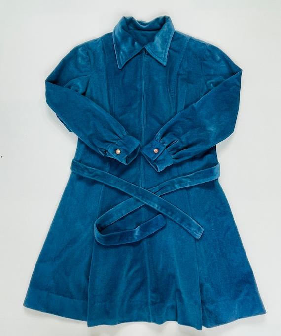 70s Womens Medium Velour Collared Mini Disco Dres… - image 5