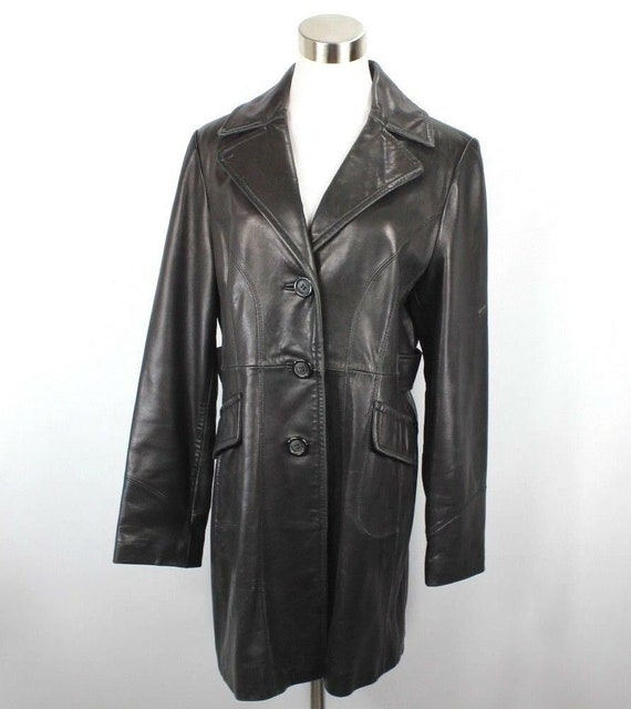 90s Guess Womens Large Lined Full Button Leather O
