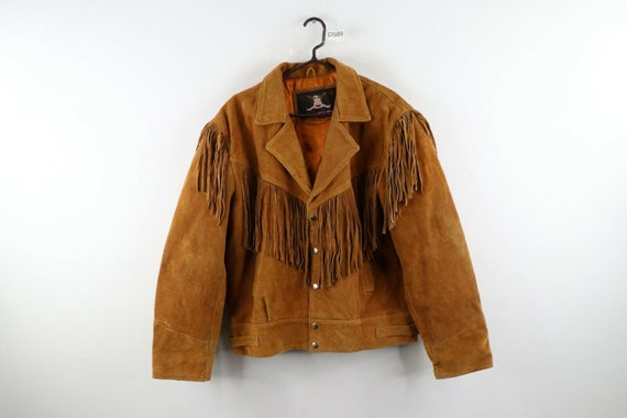 90s Rockabilly Mens 2XL Fringed Suede Leather Wes… - image 1