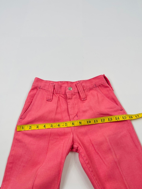70s Womens 0 XS High Rise Bell Bottom Jeans Brigh… - image 6