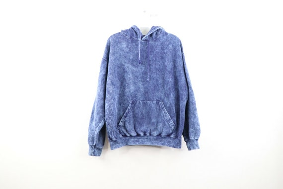 90s Streetwear Mens Small Blank Faded Acid Wash Ho
