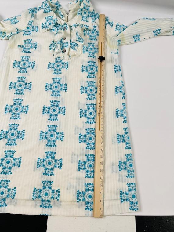 70s Womens Medium Floral Ruffled Neck Long Sleeve… - image 5