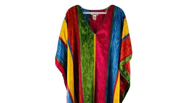 90s Womens OS Rainbow Satin Kaftan Beach Dress, 9… - image 3