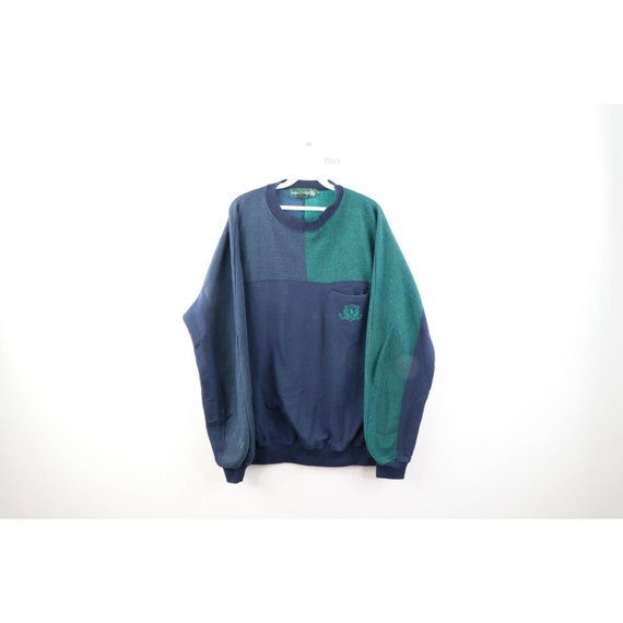 90s Streetwear Mens XL Color Block Faded Crewneck