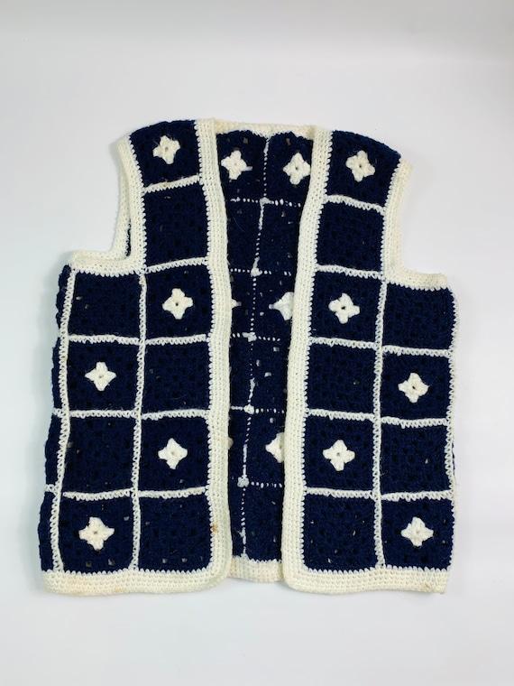 Vintage medium handmade granny square blanket vest
