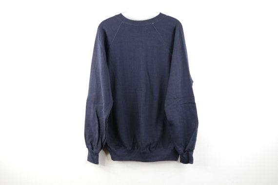 70s Mens Size Large Blank Crewneck Sweatshirt Navy