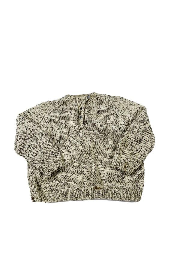 70s Womens Medium Wool Hand Knit Henley Sweater Oa