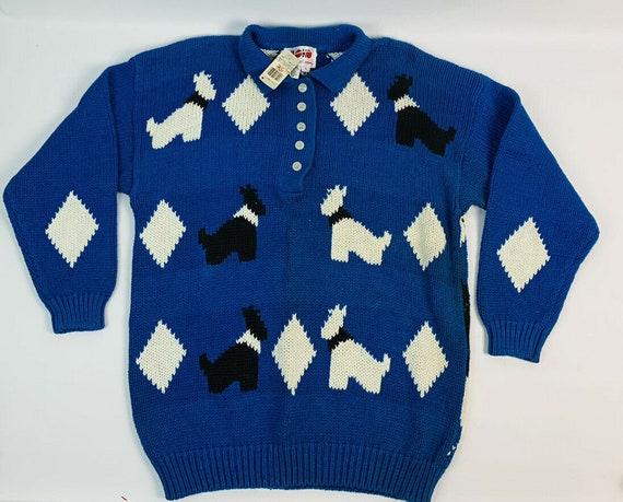 Deadstock Vintage 1980s Scottish Terrier Argyle He