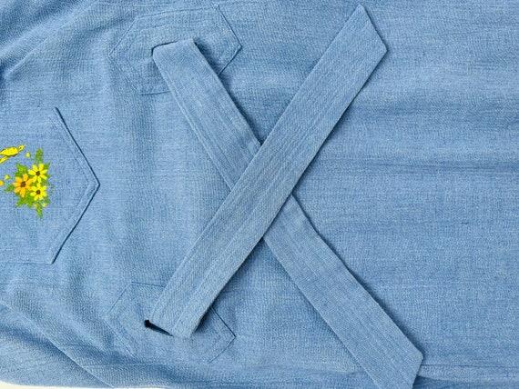 70s Womens Large Blue Chambray Denim Apron Wrap D… - image 6